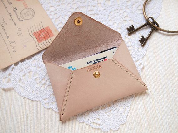 Personalized leather envelope card holder card wallet card case items similar to personalized leather envelope card holder card wallet card case card sleeve hand stitched by harlex gift for her bridesmaid gift on reheart Image collections