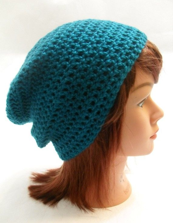 I love a great hat! #dteam #etsy  Crochet Teal Slouchy Beanie Unisex Beanie by AddSomeStitches, $22.00