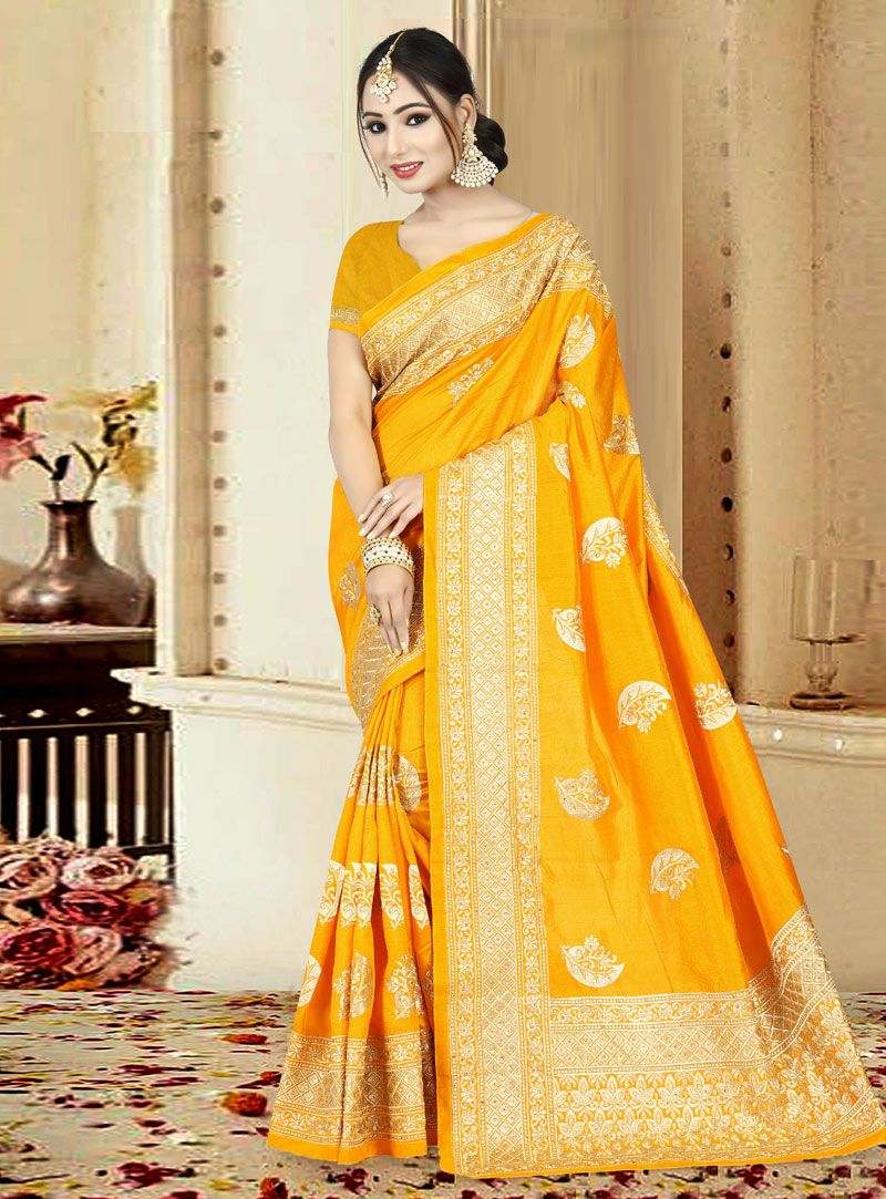 c6d3863f849189 Buy Yellow Art Silk Festival Wear Saree 146782 with blouse online at lowest  price from vast collection of sarees at Indianclothstore.com.