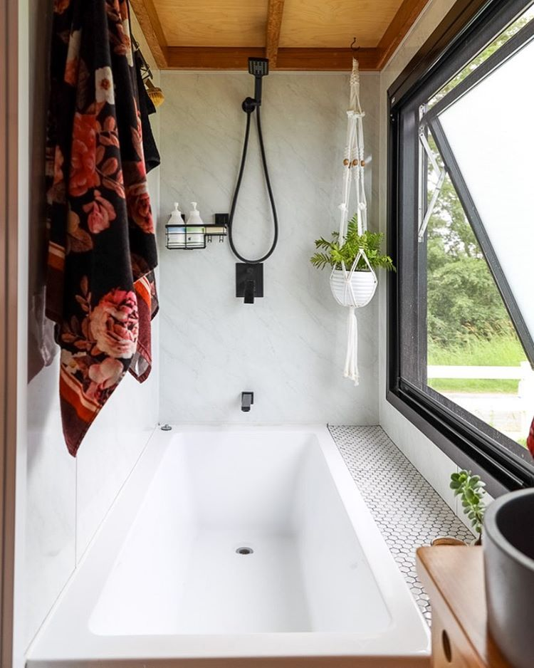 """Living Big In A Tiny House on Instagram: """"How about this for a dream tiny house bath tub! 🛁 . . . . . . #livingbiginatinyhouse #tinyhouse #bath #smallspaces #tinyhouselife…"""""""