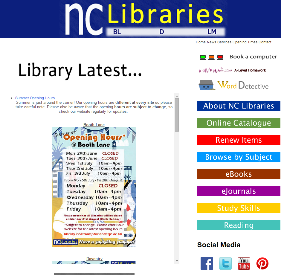 We have a new homepage on our website! It should now be easier to keep up with the latest news and navigate around our resources. You can find it at library.northamptoncollege.ac.uk