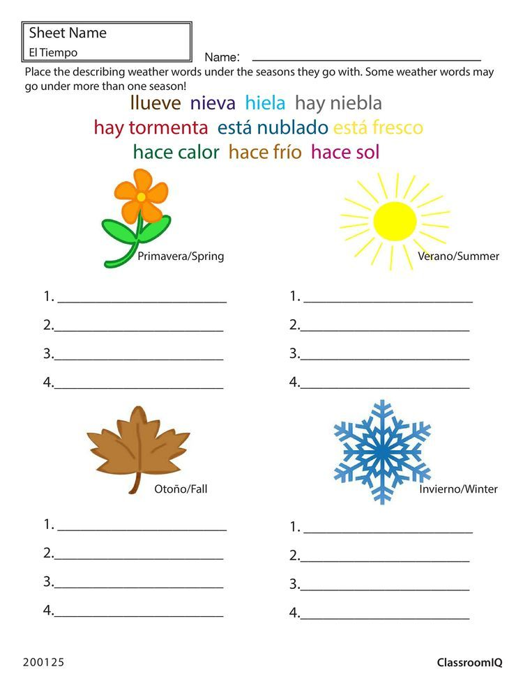Spanish worksheets, Spanish lessons for kids, Spanish weather