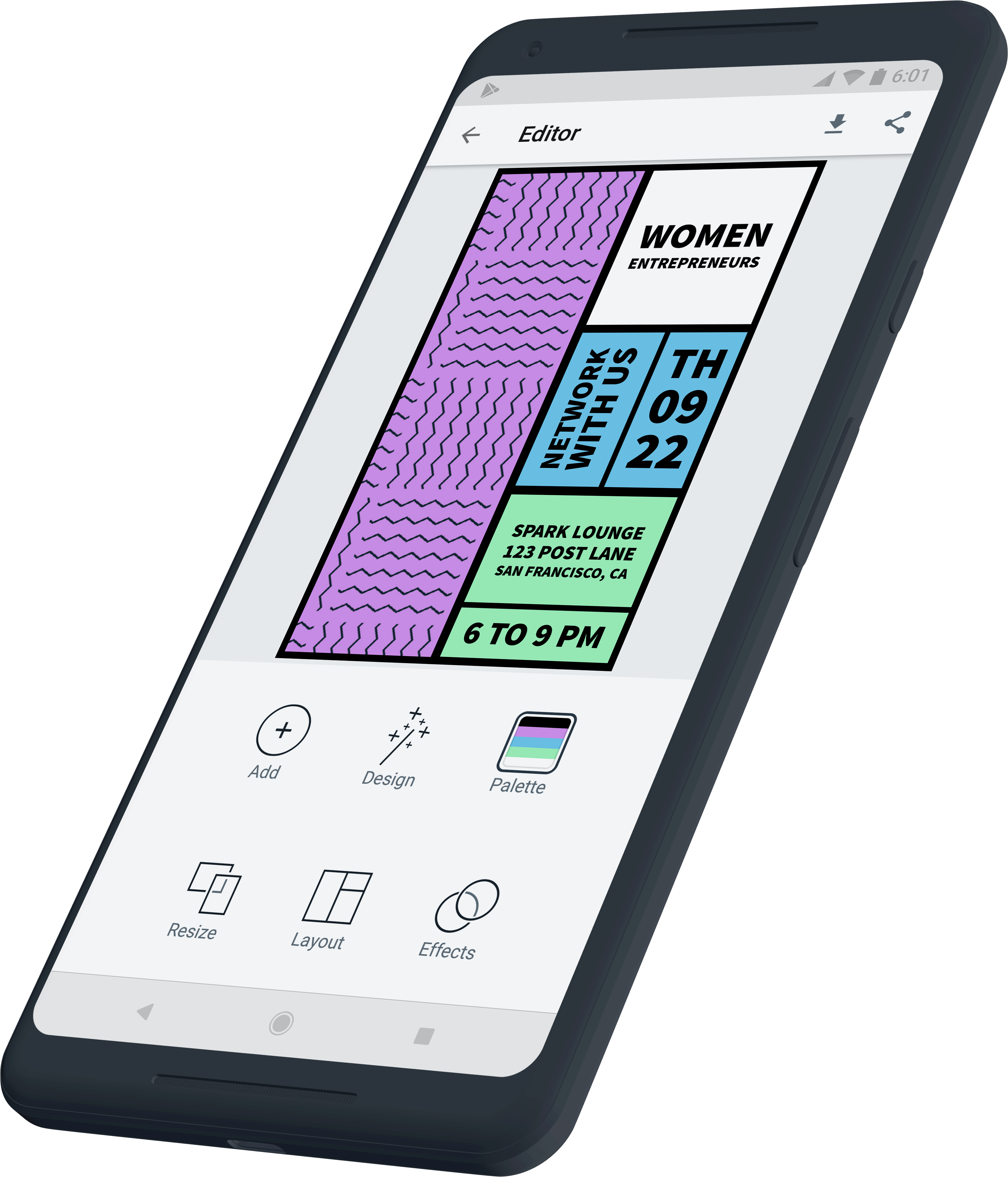 Adobe Spark for Android Design palette, Instagram story