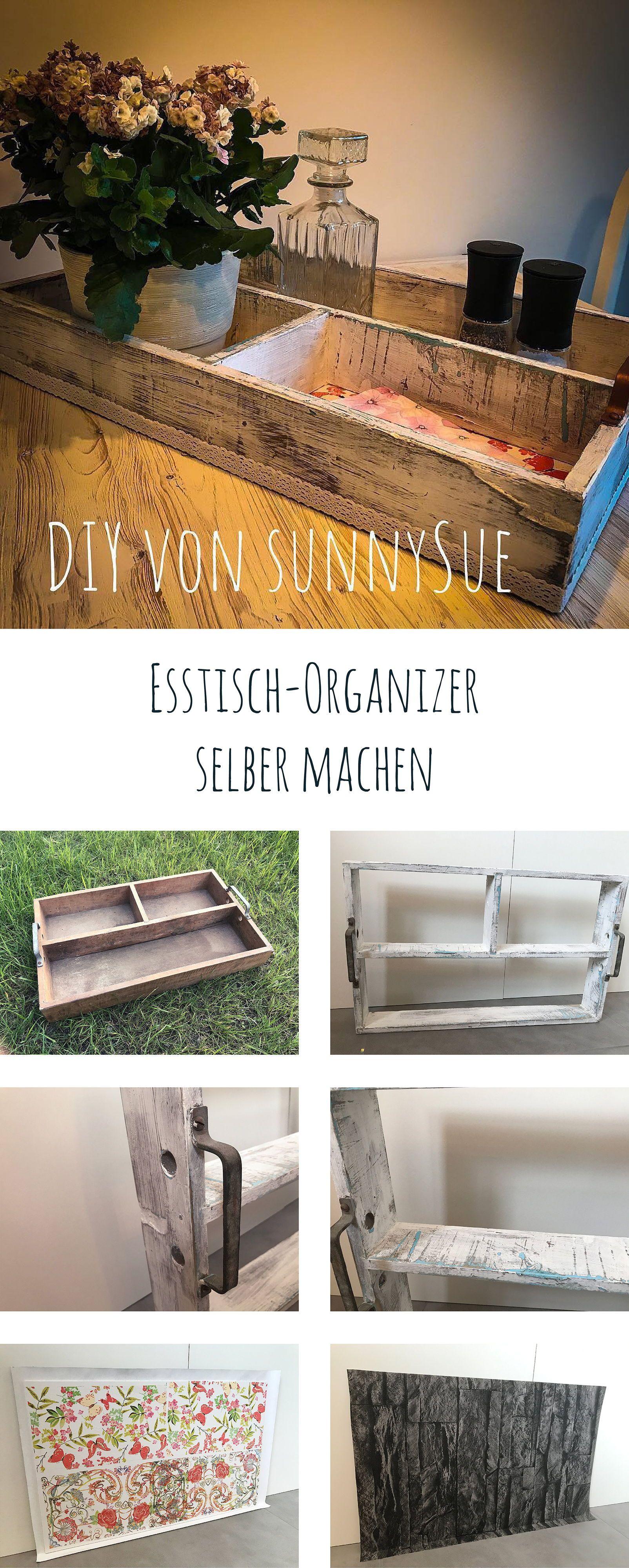 tisch-utensilo im shabby chic look mit serviettentechnik. | diy im