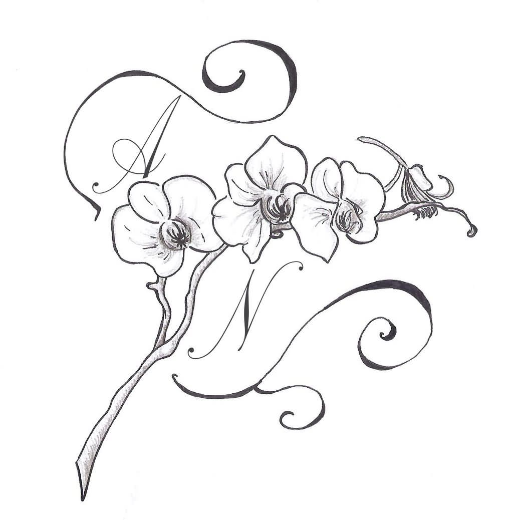 Nice Orchid Tattoo Design By Polaris