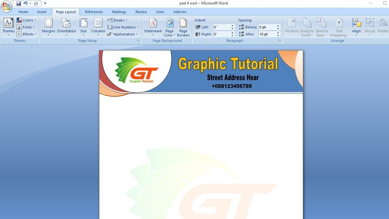 Letterhead Design In Word Microsoft Word Bangla Tutorial Letterhead Design Letterhead Business Vertical Business Cards