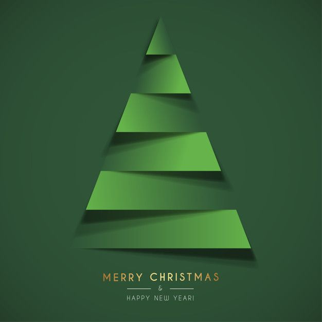 Abstract Christmas Card Template with Papercut Christmas Tree Free