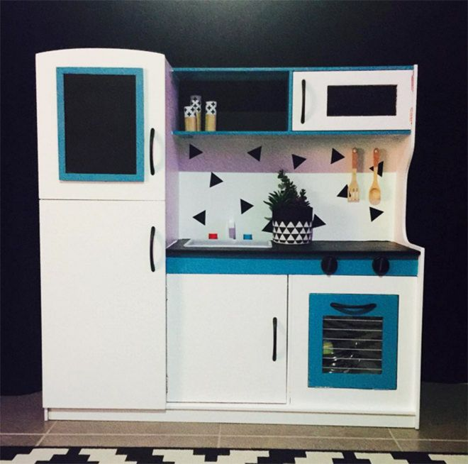 Blue Wooden Play Kitchen for the boys - the best hacks of the kmart kids kitchen. | play