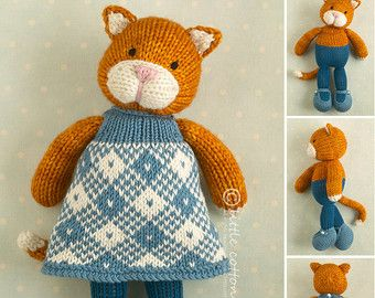 Knitted Toy knitting pattern for a girl di Littlecottonrabbits