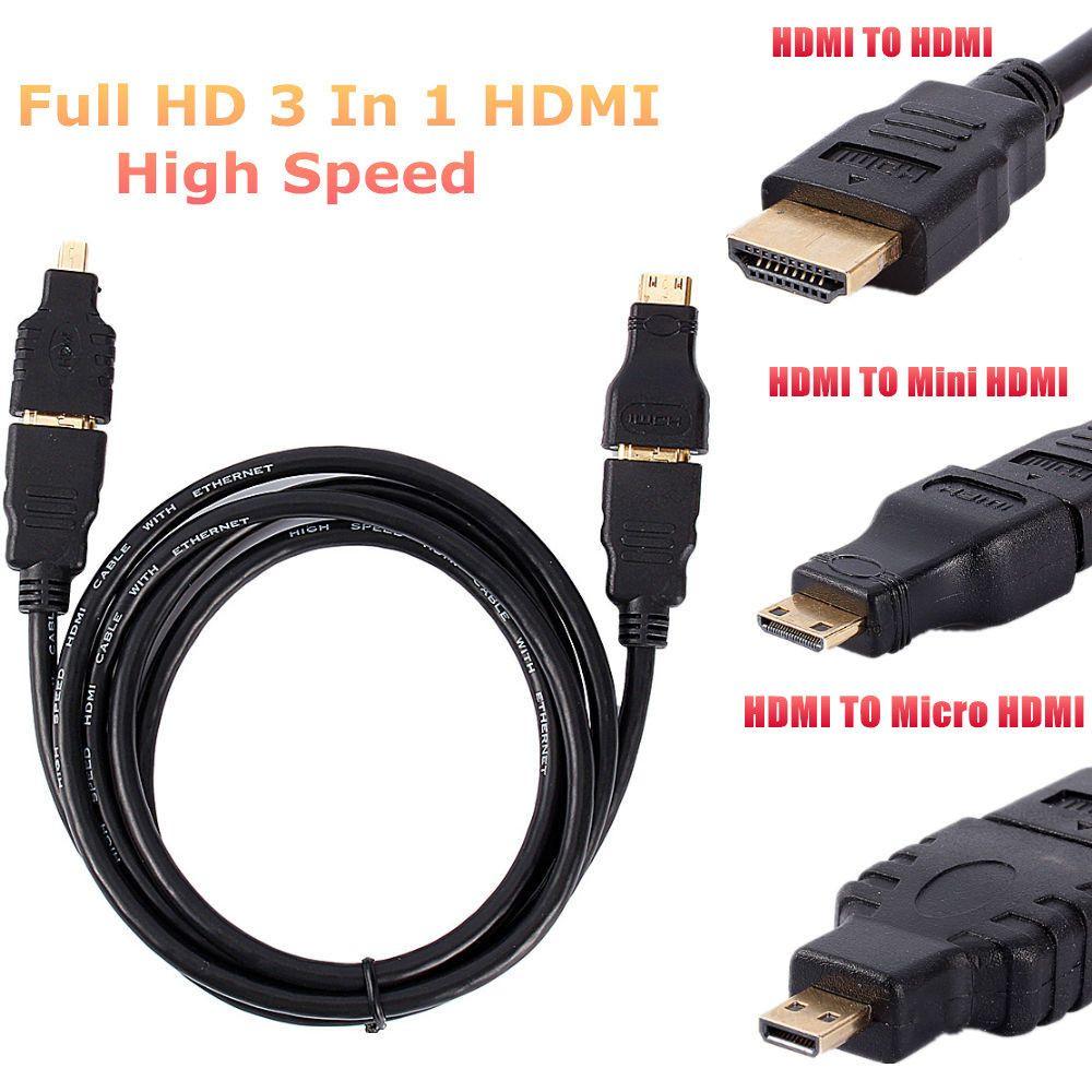 Full HD 3 In 1 HDMI ZU HDMI Mini HDMI Micro HDMI Kabel V1.4 ...