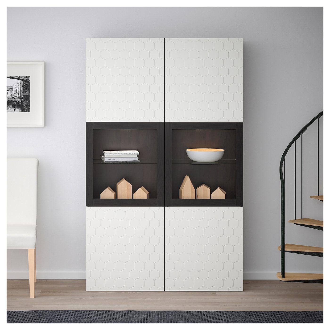 Ikea Besta Storage Combination W Glass Doors Black Brown Vassviken In 2020 Ikea Wohnzimmer Schwarze Innenturen Innentur