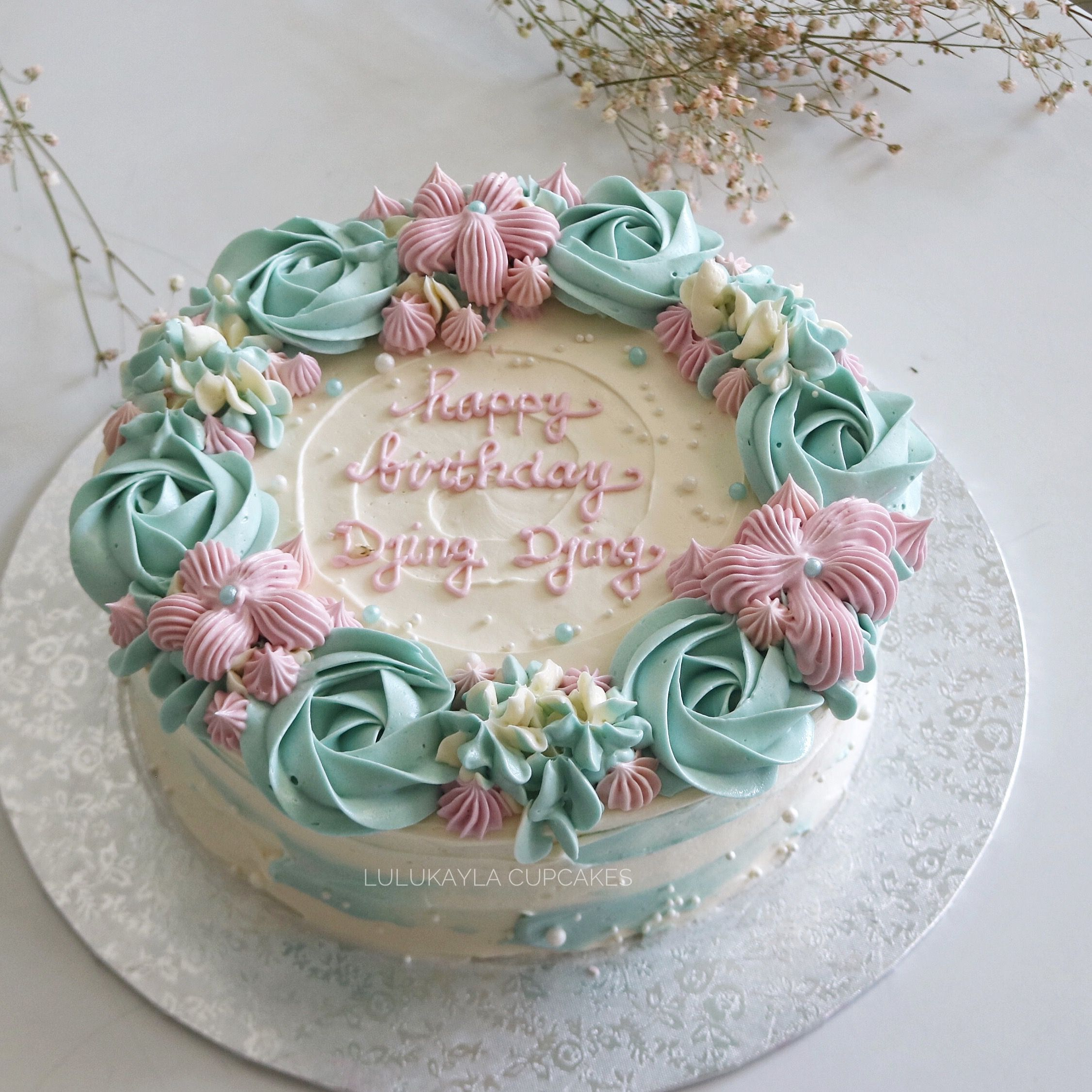 Rose Flower Buttercream Cake Buttercream Birthday Cake
