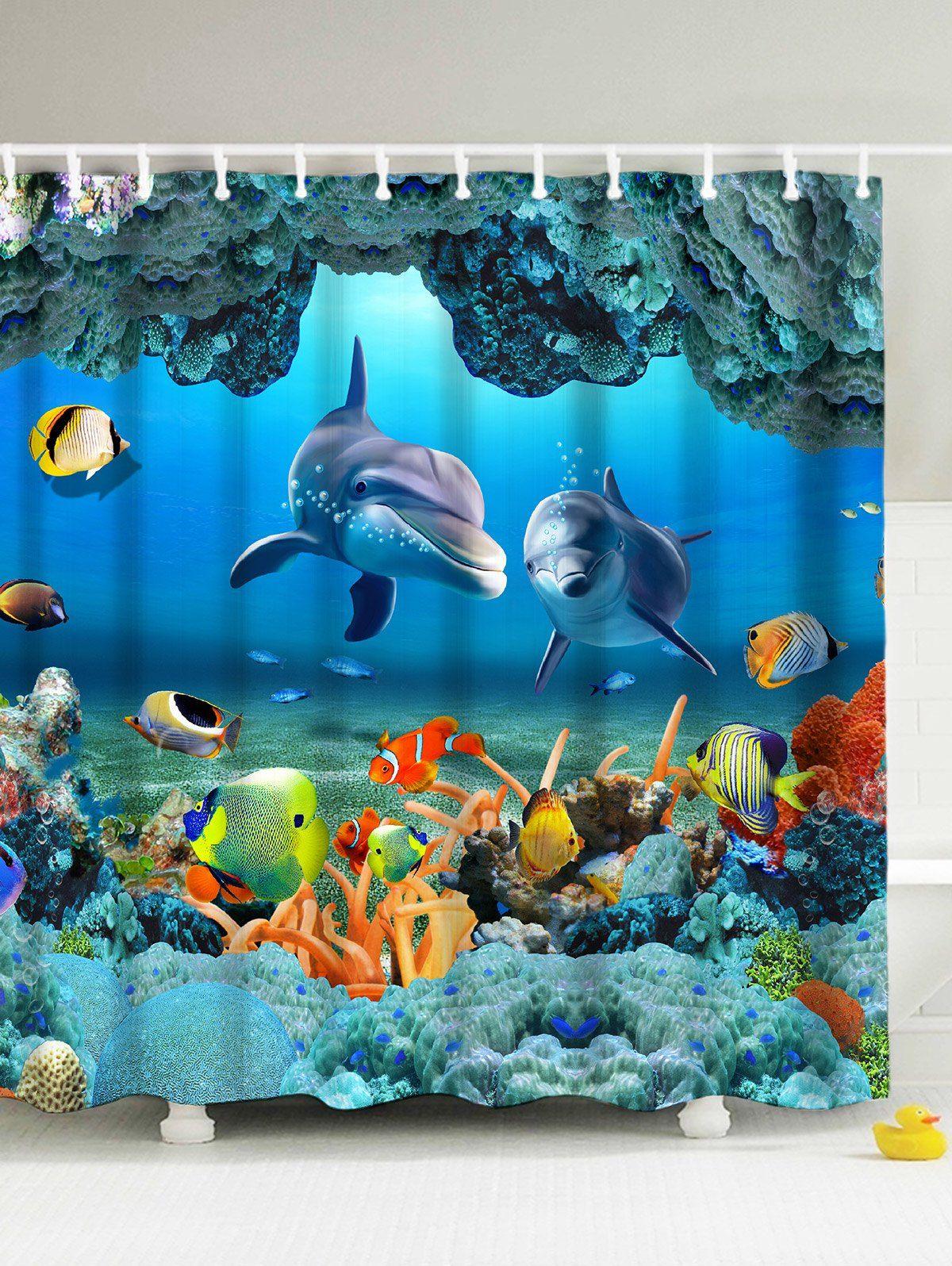 3D Print Underwater World Fish Shower Curtain