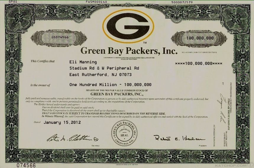 Green Bay Packers, Inc Scripophily \/ SPORTS Stocks \/ Bonds   Example Of  Example Of Share Certificate