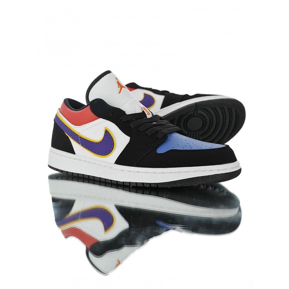 Air Jordan 1 Low Lakers Top 3 Cj9216 051 Black Red Blue In 2020 Air Jordans Jordan 1 Low Black And Red