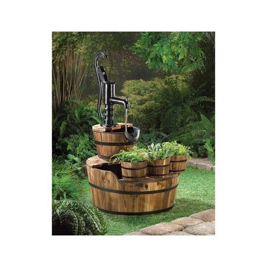 Rustic Fountain With Planters Barrel Fountain Water Fountains Outdoor Patio Fountain