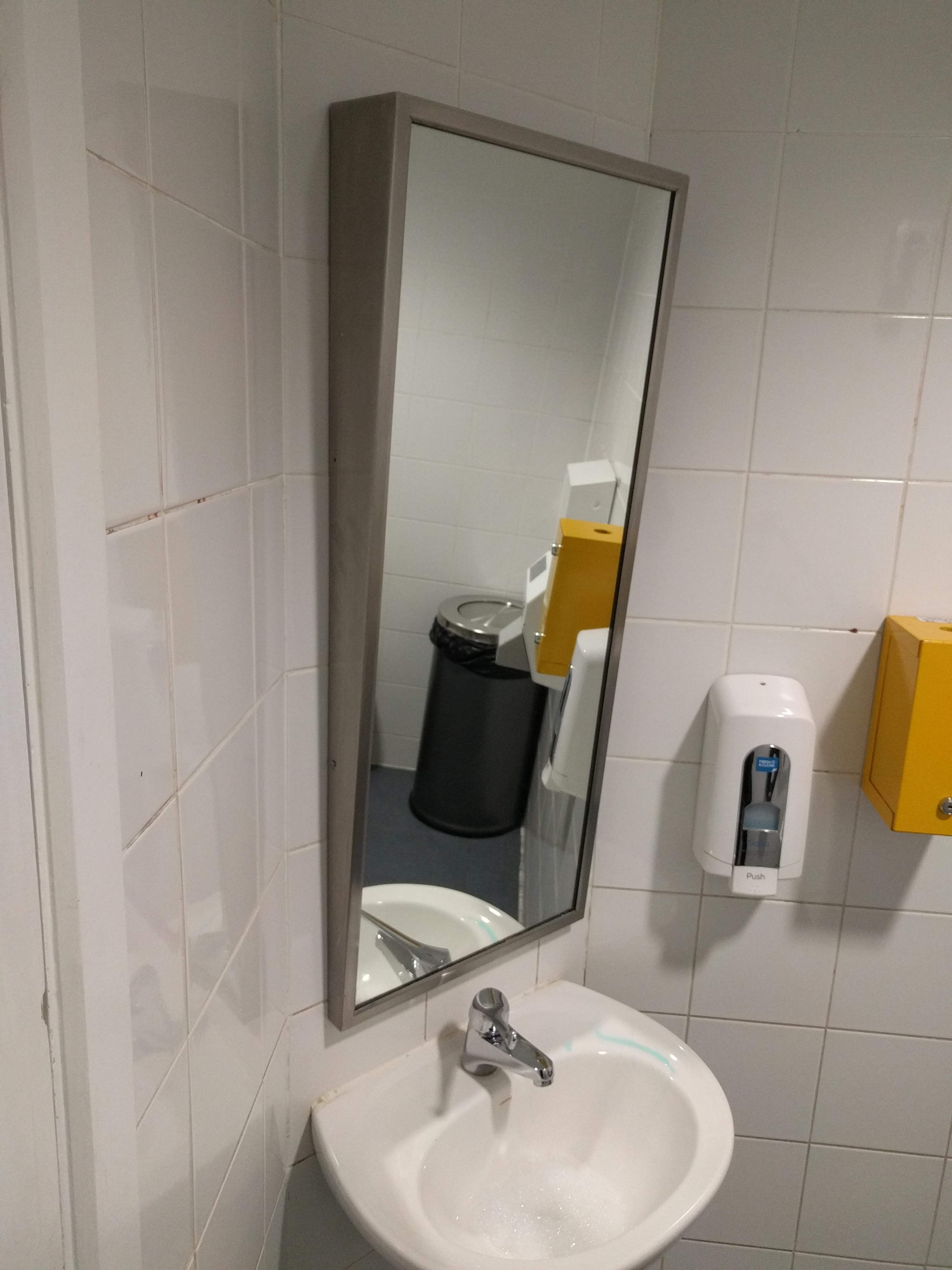 This Mirror In A Disabled Toilet Is Angled Downwards For