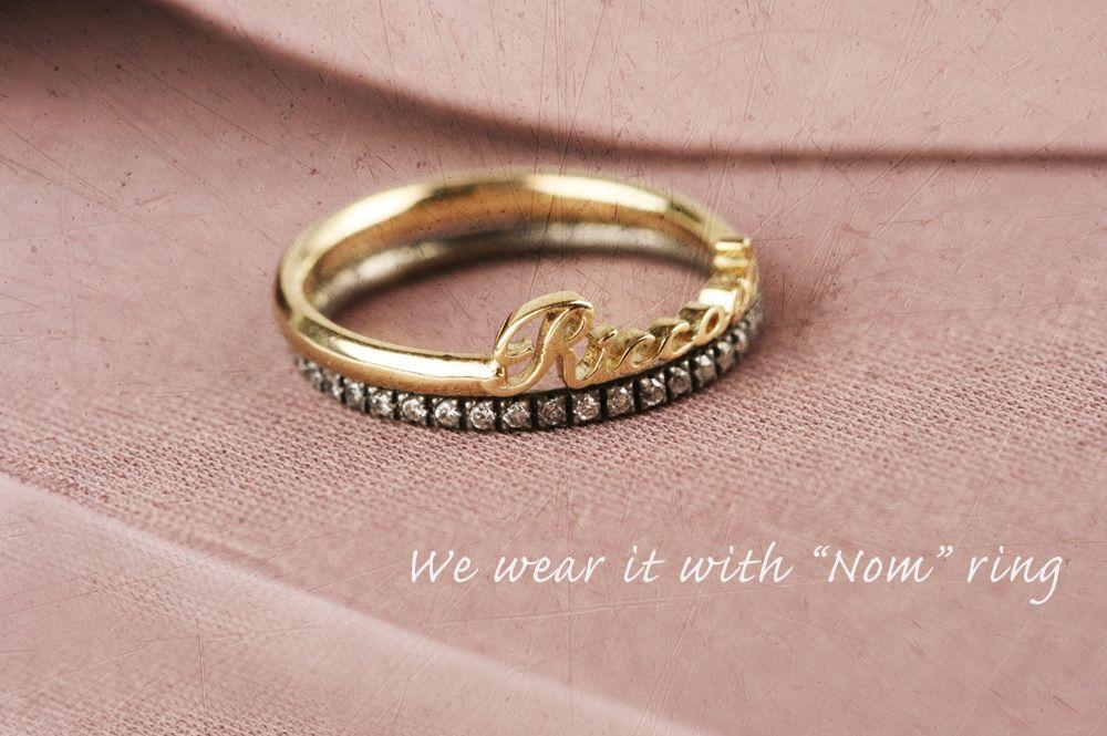 """Paleta"" and ""Nom"" rings by Maschio Gioielli #ring #diamonds #burnished #gold #jewels #design #maschiogioielli #milano #vintage #wabisabi #namering"