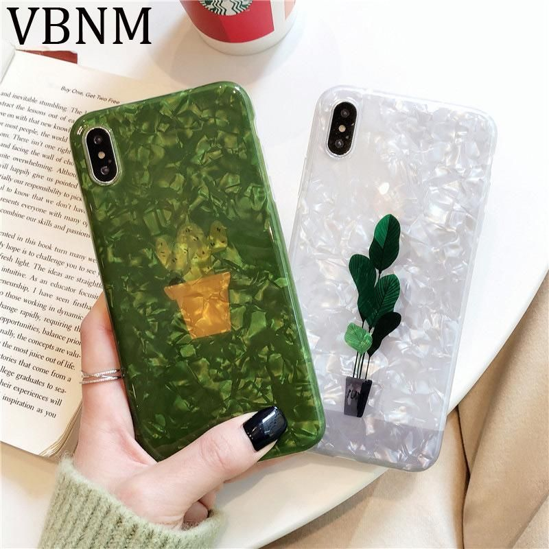 Green Plant Glitter Phone Case For Iphone 7 8 Plus Cactus Shell