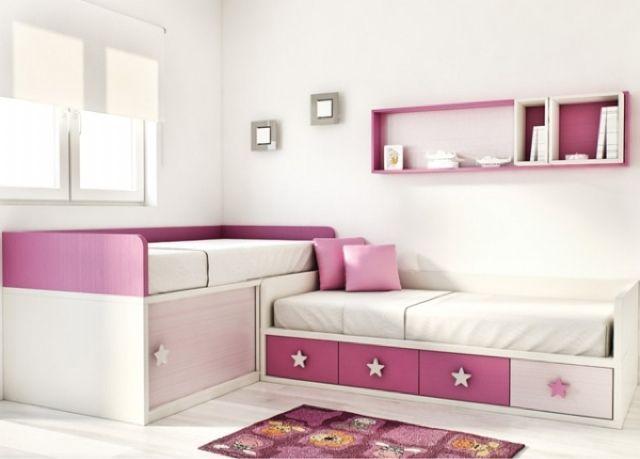 Camas en l dormitorios juveniles habitaciones for Muebles habitacion infantil nina