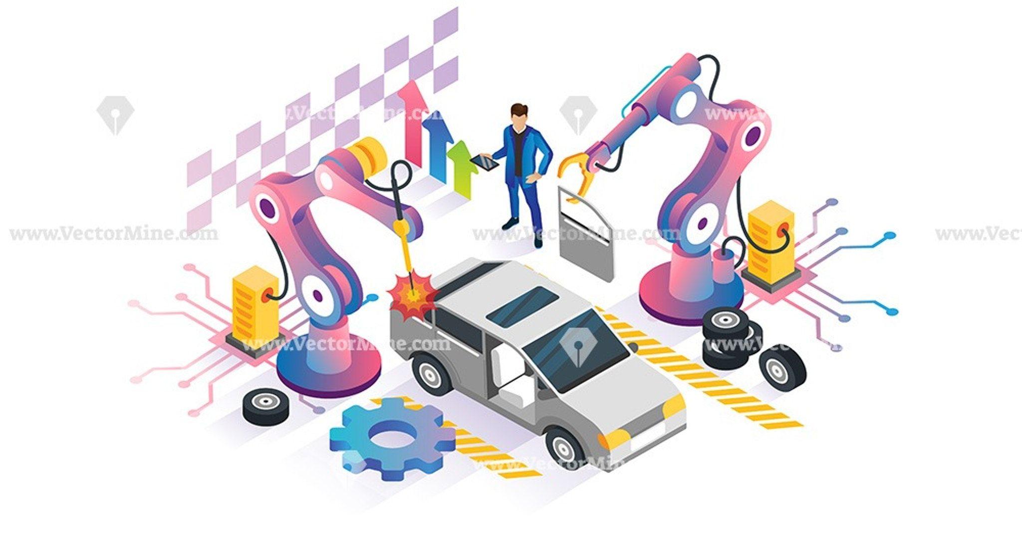 Robotics automation isometric vector illustration concept