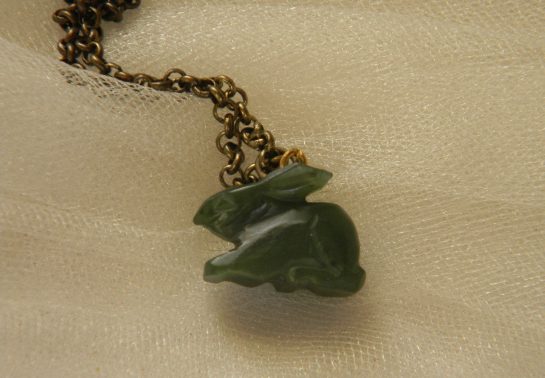 Green jade rabbit pendant brass chain necklace charm necklace green jade rabbit pendant brass chain necklace charm necklace vintage chinese jade aloadofball Images