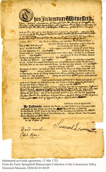 Indenture Agreement Courtesy Springfield History Museums A
