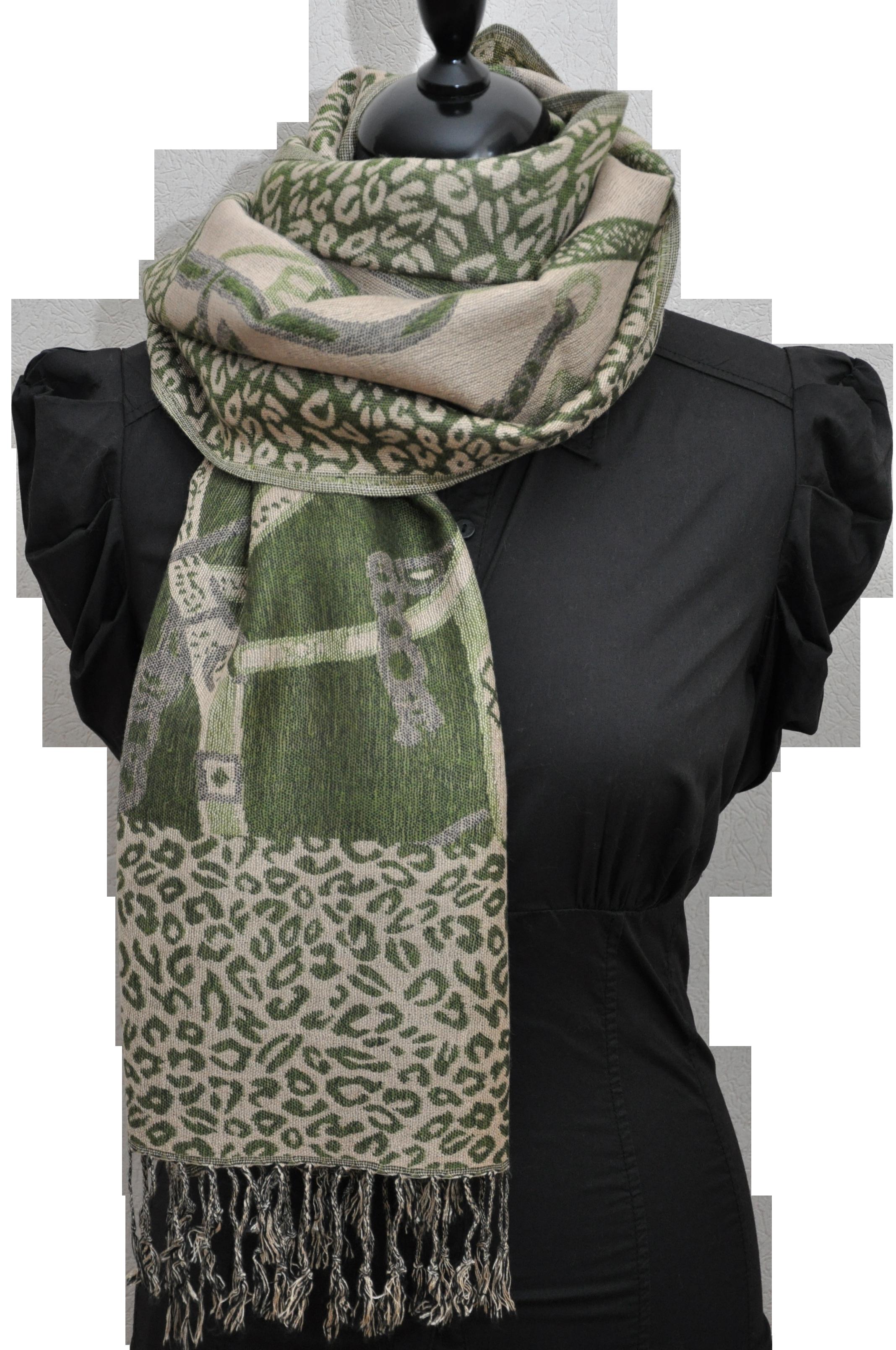 Echarpe motifs chaines et léopard