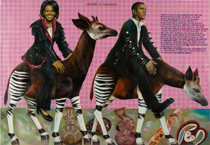 """Voyage Ya Makanisi"" by Congolese artist JP Mika. (Michelle Obama and Barack Obama riding okapis)"