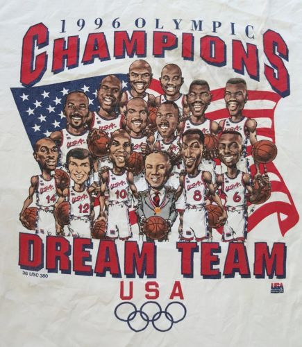Vintage 1996 Champion Olympic Dream Team USA Basketball Caricature T-Shirt  https    970423ada