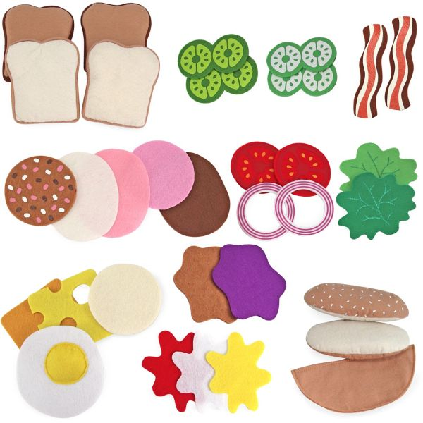 33 pcs 13954 Melissa /& Doug Felt Food Sandwich Play Food Set