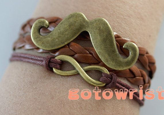 Bronze Infinity Beard Bracelet Wax Cords Leather Bracelet Personalized Bracelet on Etsy, $5.69 AUD
