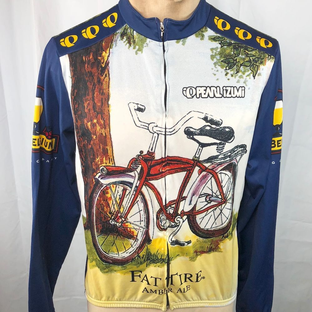 Fat Tire Ale Peal Izumi L Cycling Jersey Large Mens L S Full Zip Bike USA  Beer  NewBelgium ef0d61e52