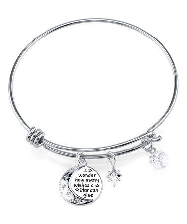Another great find on #zulily! Cubic Zirconia & Sterling Silver 'How Many Wishes' Bangle #zulilyfinds