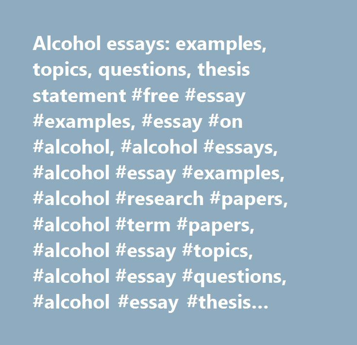 essays on alcoholism