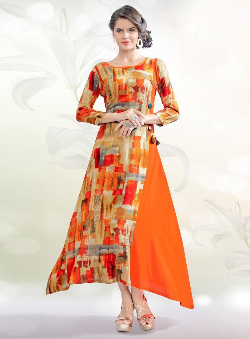 eb91a60ec Orange Rayon Readymade Tunic 99354 Long Kurti Patterns