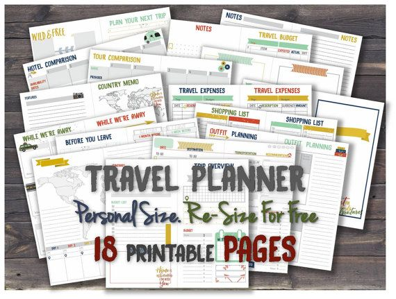 Travel planner printable journal inserts road trip itinerary diary