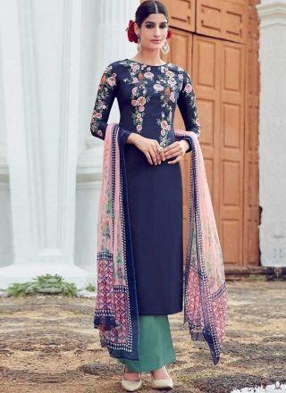 3ce1f8fefd73 Navy Blue Sea Green Embroidery Work Palazzo Cotton Satin Print Pakistani  Suit http://