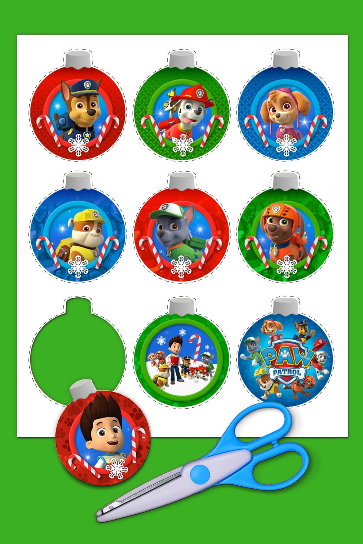 add more bark to your christmas tree with these easy paw patrol christmas ornaments - Paw Patrol Christmas Decorations