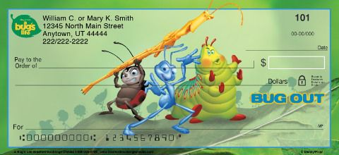 Join Flik, Princess Atta, Heimlich, Francis, Slim and Dot for some humorous fun. Celebrate a hit animated movie when you use these Disney/Pixar checks from Bradford Exchange Checks®