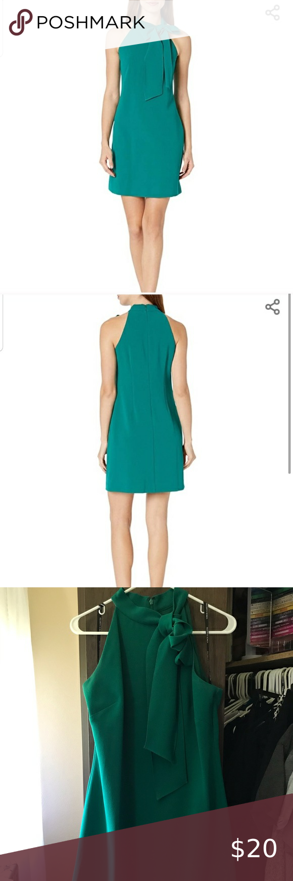 Vince Camuto Green Bow Dress Dress With Bow Dresses Wearing Dress [ 1740 x 580 Pixel ]