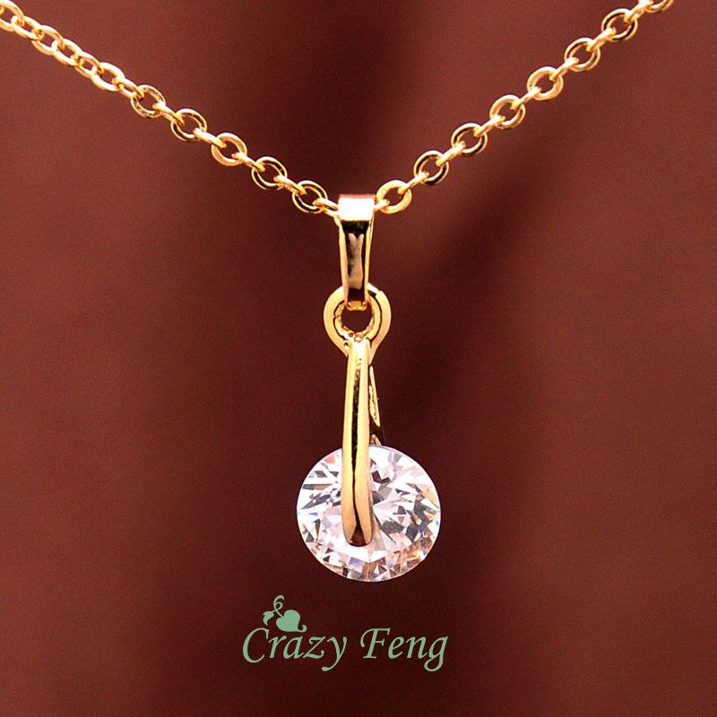 Free shipping New 18k Yellow Gold Plated Women's/Girl's CZ Diamond Chain Necklace + Earrings Wedding Jewelry Sets Gifts