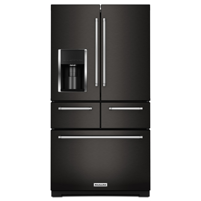 Kitchenaid Refrigerator Krmf706ebs 25 8 Cu Ft 5 Door French Door Singl Premium Kitchen Appliances Black Stainless Steel Appliances Kitchen Appliances