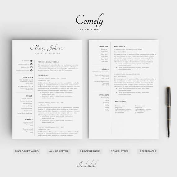 Instant Resume Templates Professional Resume Template  Modern Cv Design Easy Instant