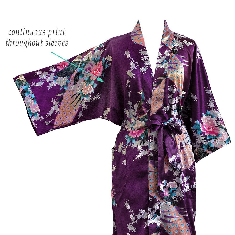 Kimono Long Robe - Peacock and Blossoms (dusk)