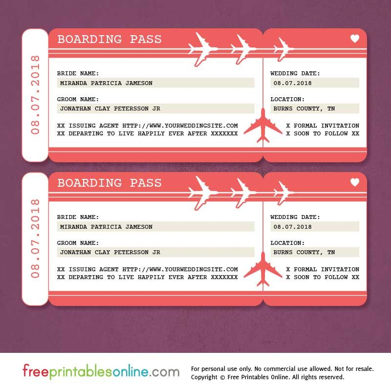 free printable boarding pass save the date template wedding save