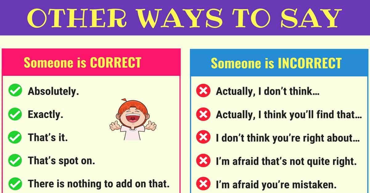 Different Ways To Say Someone Is Correct Or Incorrect 7esl Other Ways To Say Common Phrases English Phrases