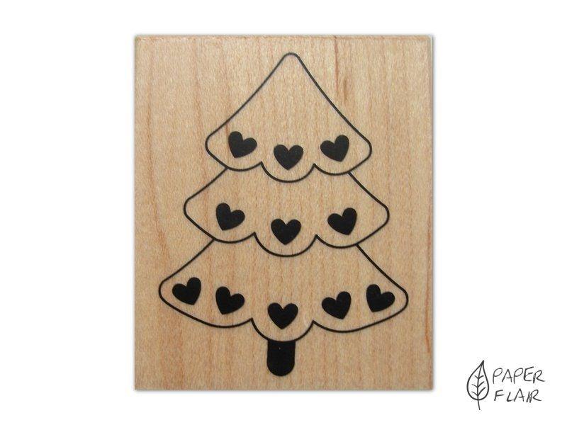 Stempel Weihnachten - Tannenbaum mit Herzen