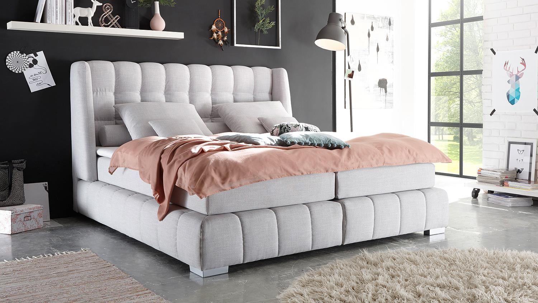 boxspringbett princeton bett in silber grau mit viscotopper 180x200 einrichtungsideen pinterest. Black Bedroom Furniture Sets. Home Design Ideas