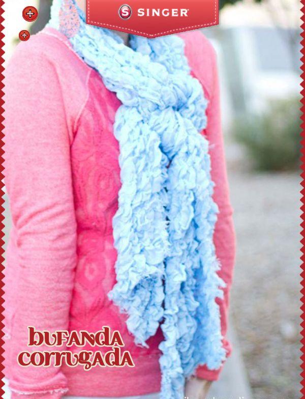 Para el frío una bufanda corrugada #yolohice #Singer #bufanda